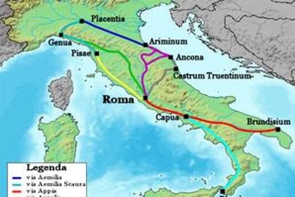 Mapa hlavných rímskych ciest. Červeno vyznačená Via Appia viedla z Ríma cez Capuu do Brundisia (dnešné Brindisi).