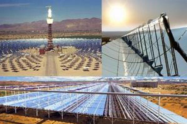 Slnečné elektrárne v púšti. Projekt Desertec ráta s výstavbou rozľahlých slnečných a veterných elektrární, ktoré by elektrickou energiou zásobovali Európu.