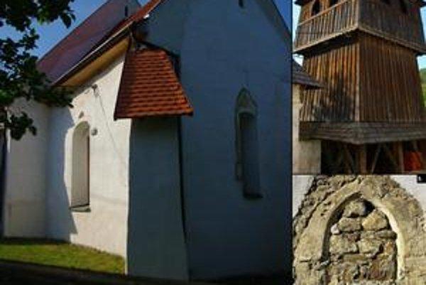 Klenovský kostol. 1. Južná a východná fasáda svätyne, 2. Zvonica, 3. Južný portál.