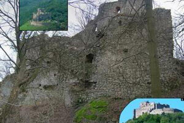 Kapušany. 1. letecký pohľad na hrad. 2. jadro hradu od severu. 3. hrad od juhu.