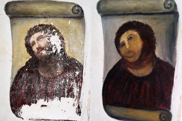 Ecce Homo pred zásahom Cecilie Giménez a po ňom.