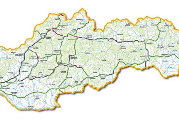 Aktuálna plánovaná diaľničná sieť na Slovensku.