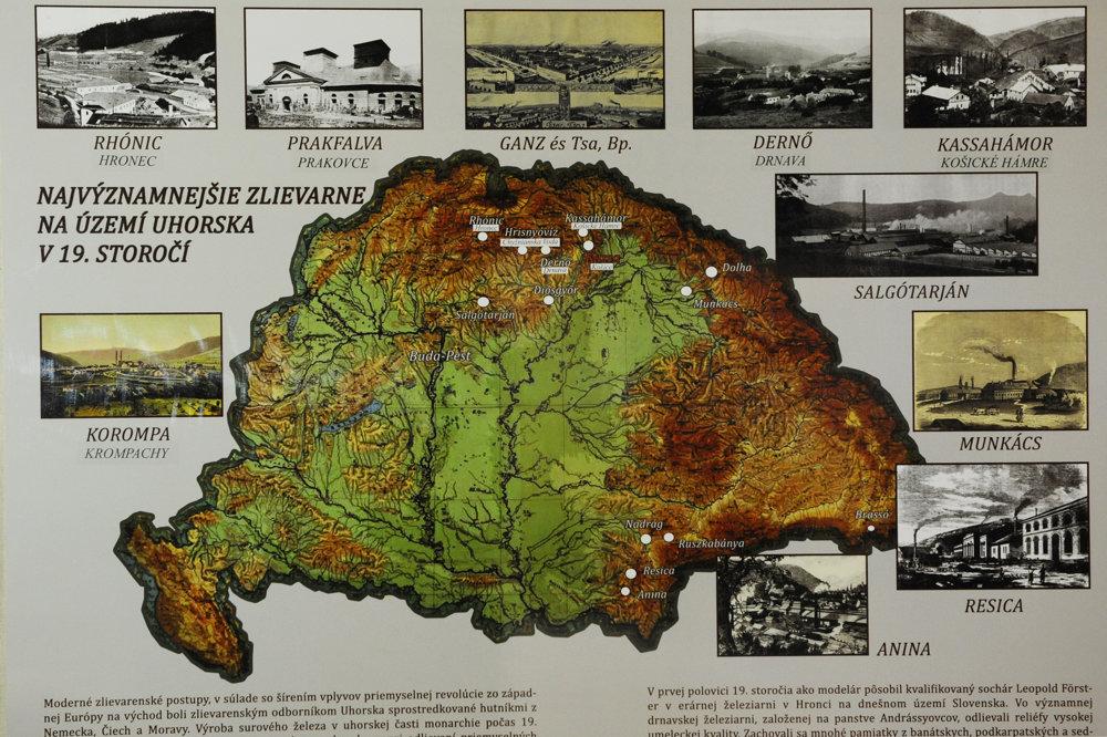 Na snímke informačný panel z výstavy s najvýznamnejšími zlievarňami na území Uhorska v 19. storočí.