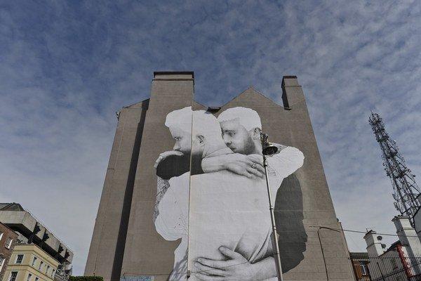 Referendum podporili aj umelci v uliciach Dublinu.