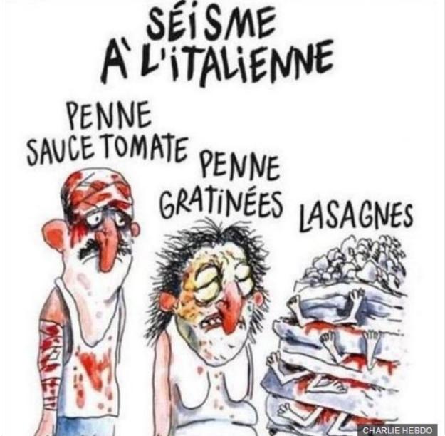 Karikatúra obetí zemetrasenia v časopise Charlie Hebdo.