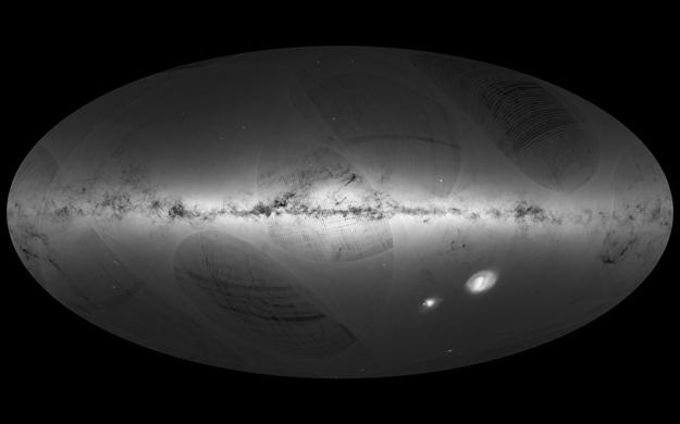 Prvá hviezdna mapa sondy GAIA. (Po kliknutí sa zobrazí verzia vo vysokom rozlíšení.)