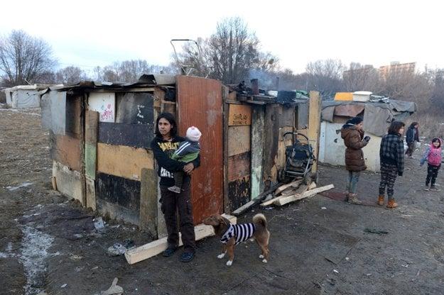 Košické Mašličkovo. Rodiny s deťmi žijú v lese pri Luníku IX, odkiaľ ich vysťahovali. Bytovky boli zvalené.