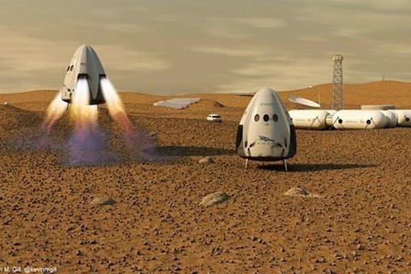 Kapsula Dragon na povrchu Marsu.