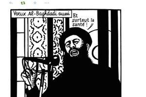 V novom roku najmä veľa zdravia, praje na karikatúre líder Islamského štátu Bagdádí. Túto karikatúru dali na Twitter len pár minút pred útokom na redakciu.