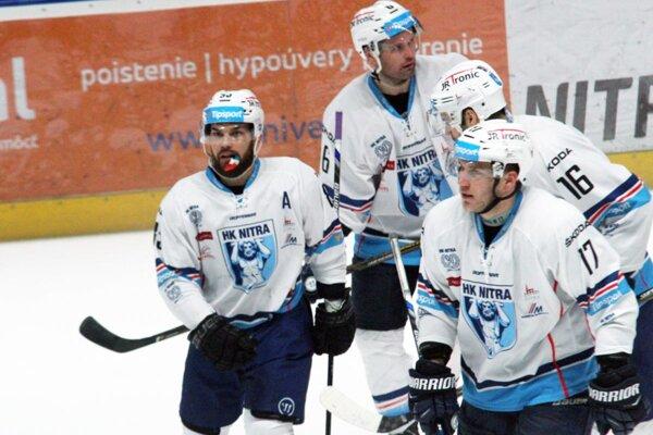 Hokejisti Nitry majú dobrú formu, v Tipsport lige vyhrali posledné tri zápasy v rade. Snímka je z piatkového duelu s Košicami (6:4).