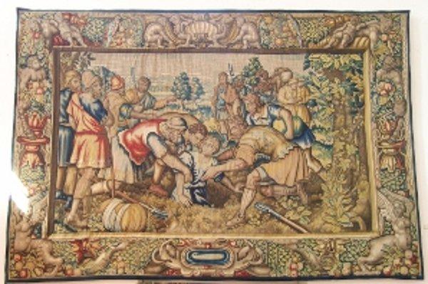 Na gobelíne je zachytený biblický výjav.