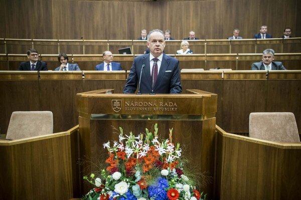 Prezident Andrej Kiska vystúpil v parlamente.