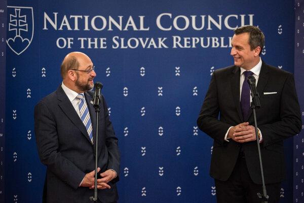 Predseda Európskeho parlamentu Martin Schulz a predseda Národnej rady SR Andrej Danko.
