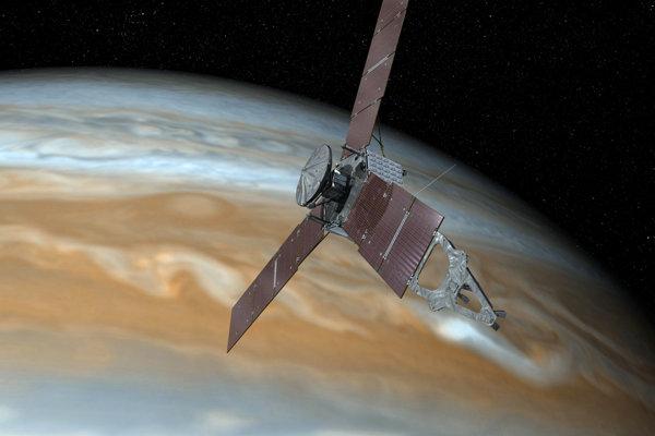 Vizualizácia Juno pri Jupiteri.