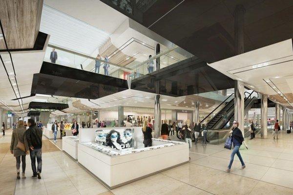Obchody v novom centre budú na dvoch podlažiach, zábavná časť bude pokračovať na treťom poschodí.