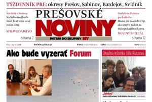 Titulná strana týždenníka Prešovské noviny č. 48/2016