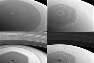 Oblak v tvare šesťuholníka prvýkrát pozorovala misia Voyager v rokoch 1981-82. Tieto zábery vznikli 2. decembra 2016.