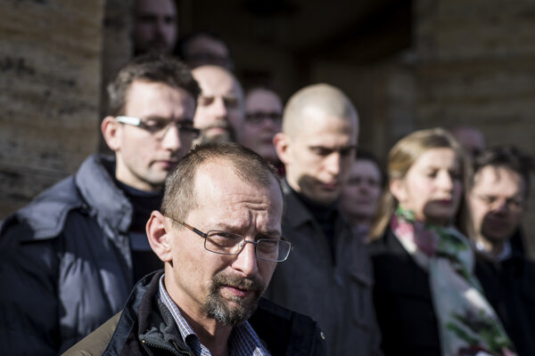 Branislav Kočan počas štrajku.