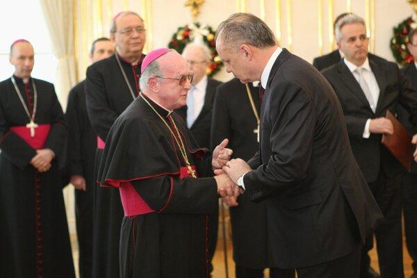 Kiska počas tradičného novoročného prijatia zástupcov cirkví a náboženských spoločností v Prezidentskom pláci v Bratislave.