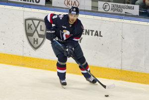 Na snímke Michal Sersen (Slovan) počas stretnutia hokejovej KHL Slovan Bratislava - Sibir Novosibirsk, november 2016.