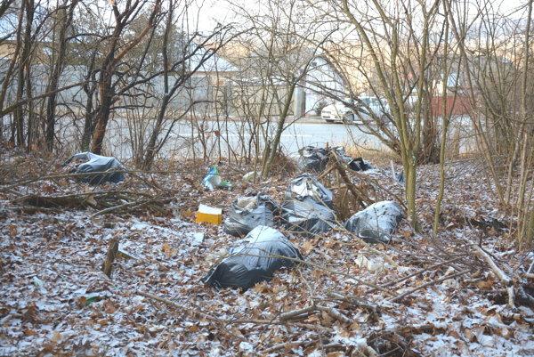 Vrecia odpadu vedľa cesty na Sorošku. Neohľaduplní ľudia zrejme predpokladajú, že odpad zo lesa sám čarovne mizne.