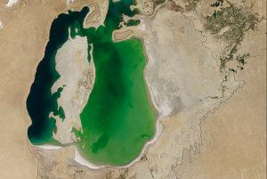 Do šesťdesiatych rokov bolo Aralské jazero štvrté najväčšie na svete. Potom začal Sovietsky zväz odkláňaž rieky, ktoré ústili do jazera a vodu z nich používali na zavlažovanie polí na pestovanie bavlny a iných plodín v Kazachstane, Uzbekistane a v Turkménsku. Snímka z 25. augusta 2000.