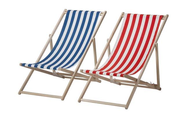 Plážové ležadlo MYSINGSÖ, pri ktorom hrozí riziko poranenia.