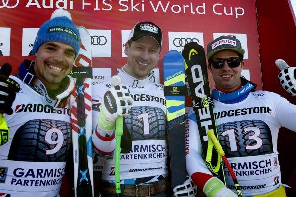 Traja najlepší zo zjazdu v Garmisch-Partenkirchene.