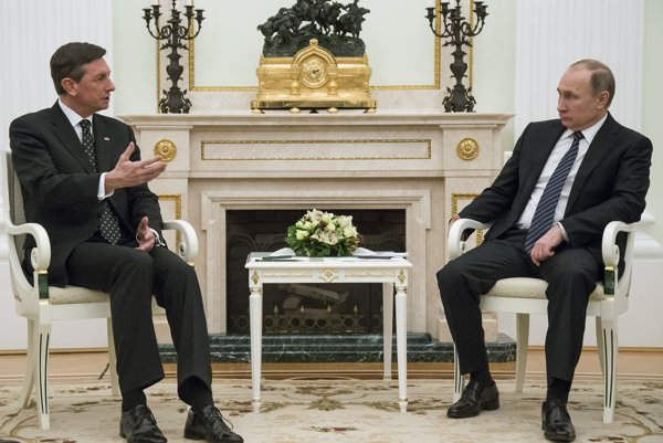 Prezident Slovinska na stretnutí s Vladimirom Putinom v Moskve.