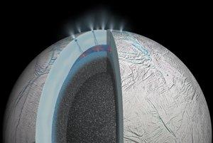 Takto by mohol podľa vedcov vyzerať oceán pod povrchom Saturnovho mesiaca Enceladus. Je však ďalej ako Europa, preto sa k nemu NASA zatiaľ nechystá.