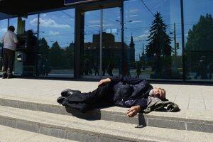 Poludňajší odpočinok v centre mesta Unavenému nevadil ani ruch pri neďalekej zastávke MHD.
