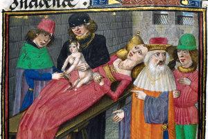 Fiktívna ilustrácia narodenia Julia Caesara z 15. storočia od neznámeho autora.