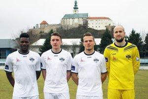 Kvarteto nových hráčov v Nitre - zľava Macdonald Niba, Christián Steinhübel, Patrik Abrahám a Lukáš Hroššo.