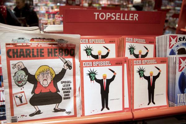 Titulka nemeckej mutácie Charlie Hebdo ilustruje Merkelovú ako zotína hlavu svojmu súperovi Schulzovi. Karikatúra naráža na titulku Der Spiegel, na ktorej Trump zotína hlavu americkej Soche slobody.