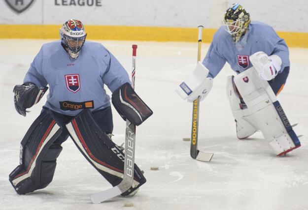 Július Hudáček (vľavo) a Jaroslav Janus počas tréningu v rámci štartu záverečnej prípravy pred MS.