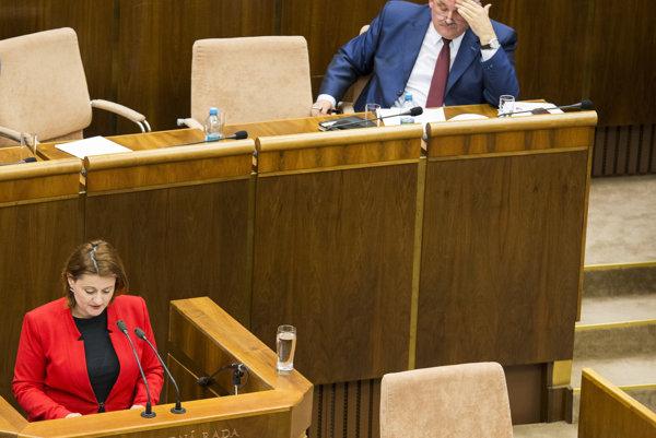 Na snímke predsedníčka poslaneckého klubu SaS Natália Blahová (vľavo) a minister práce, sociálnych vecí a rodiny SR Ján Richter (vpravo).