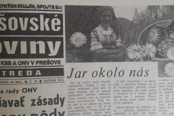 Jarné Prešovské noviny z roku 1987.