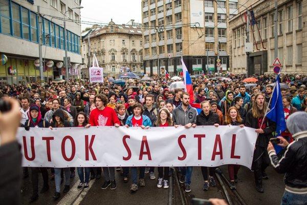 Protikorupčný protest v Bratislave. Ilustračné foto.