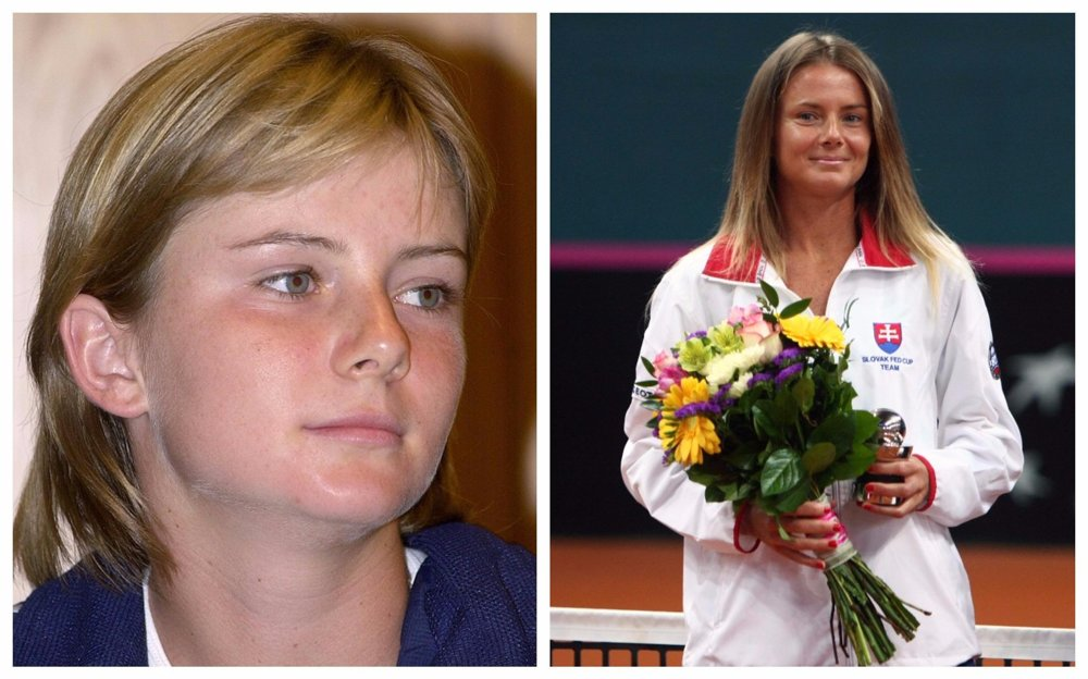 Daniela Hantuchová. Na snímke vľavo v roku 2001, vpravo snímka z 23.apríla 2017.