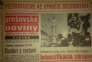 Z májových Prešovských novín. Z roku 1987.