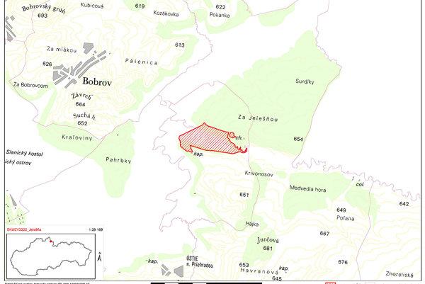 Červeným vyznačená časť územia Jelešne navrhnutá na zaradenie do zoznamu Natura 2000.