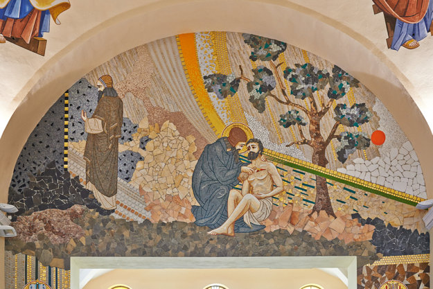 Mozaika. Nachádza sa vBazilike minor vĽutine.