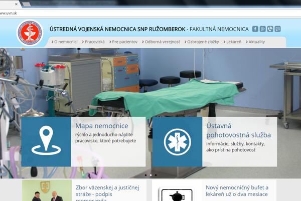 Takto vyzerá nový web Ústrednej vojenskej nemocnice v Ružomberku. (Zdroj: ÚVN.sk)