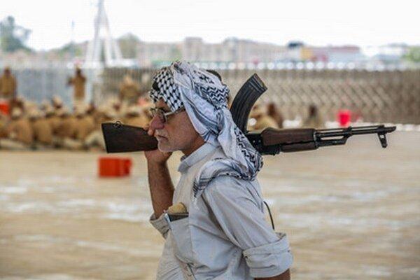 Dobrovoľníci bojujúci v Iraku cvičia neďaleko mesta Karbala.