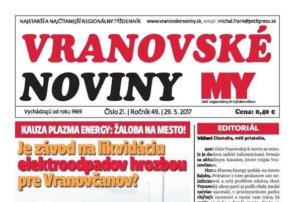Titulná strana týždenníka Vranovské noviny č. 21/2017.