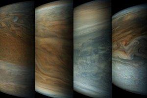 Sekvencia obrázkov z blízkeho preletu Juno popri Jupiteri ukazuje, ako rýchlo sa planéta mení. Siedmy a ôsmy obrázok sú fotené z najbližšieho bodu. Medzi snímkami je rozdiel len štyri minúty.