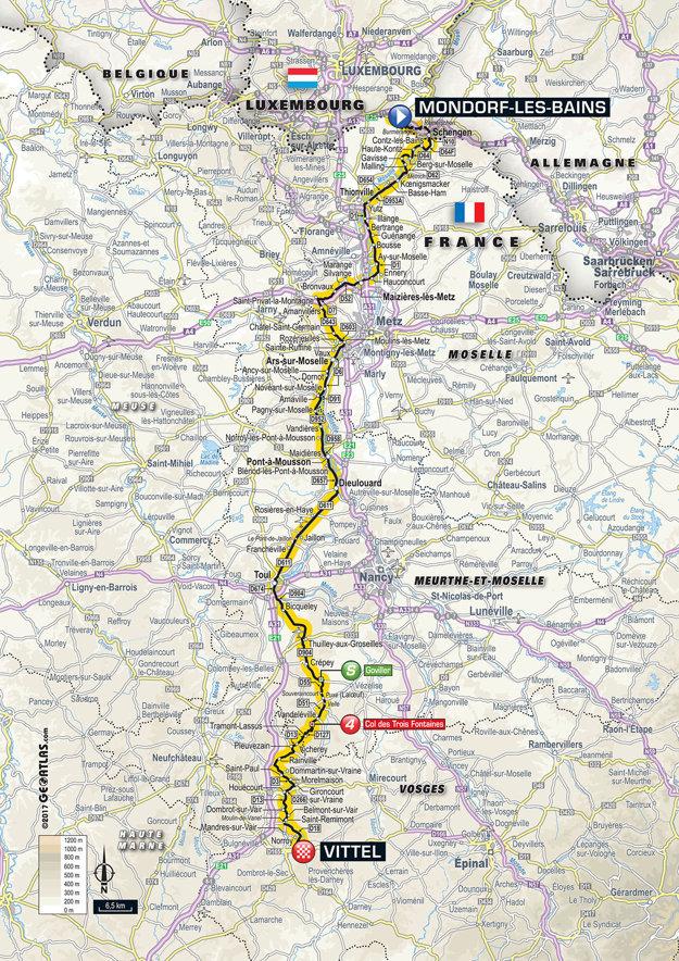 Mapa štvrtej etapy Tour de France 2017.