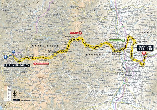 Mapa šestnástej etapy Tour de France 2017.