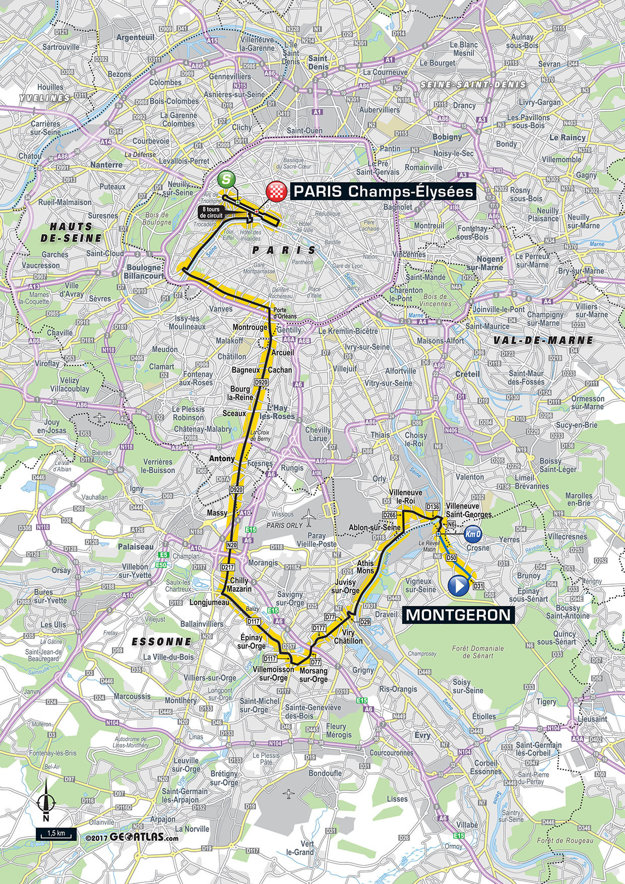 Mapa dvadsiatej prvej etapy Tour de France 2017.