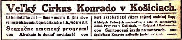 Reklamná upútavka na veľký Konrádov cirkus.